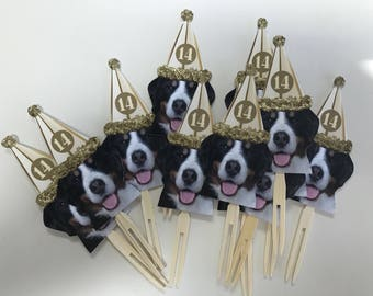 Pet dog or any animal cupcake toppers or drink stirrers set of 12