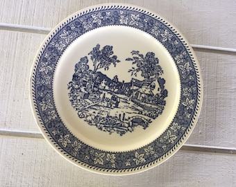 Vintage blue and white china shakespeare country blue leaves Homer Laughlin large platter Stratwood collection Blue transfer ware chop plate