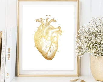 Gold Heart Print, Medical Printable sign, Anatomical Human Heart Poster, Gold Medical Illustration wall art printable DIGITAL FILES