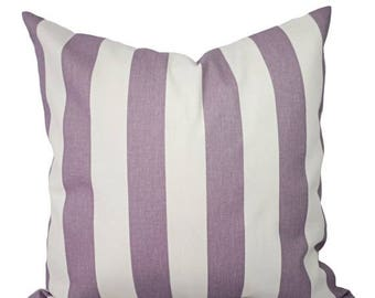 15% OFF SALE Two Purple Pillow Covers - Decorative Pillow Cover - Striped Purple Throw Pillow - Lavender Pillow - Striped Pillow - Dorm Deco