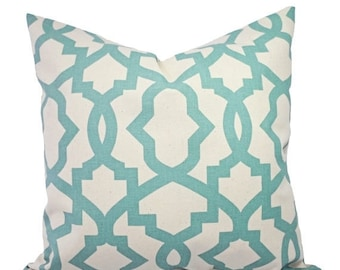 15% OFF SALE Two Pillow Covers - Spa Blue Trellis Pillow Covers - Decorative Pillow Covers Light Blue and Beige - Spa Blue Throw Pillow - Ac