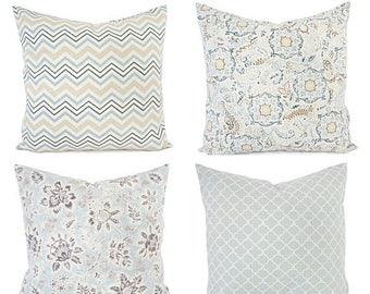 15% OFF SALE Floral Pillow Covers - Chevron Pillows - Blue Tan Pillows - Custom Pillow Sham - Custom Size Pillows - Damask Pillows - Blue Pi