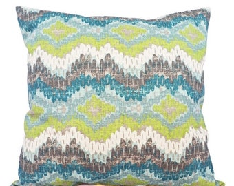 15% OFF SALE Two Pillow Covers - Two Green and Blue Ikat Covers - Chevron Pillow - Blue Ikat Pillow - Green Ikat Pillow - Ikat Pillow Covers