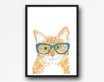 Tabby Cat Watercolor Painting Print Ginger Cat Lover Gift Orange Cat Wearing Geek Nerd Glasses Wall Art Cat Wall Decor Art Print Unframed