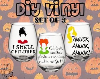 Halloween Decals Halloween Wine Glass Decal Halloween - Custom vinyl decals for glassware
