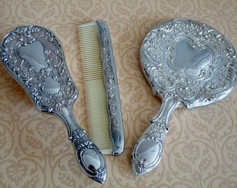 Gorgeous Vintage Hairbrush, Mirror and Comb Set - Silver Plated - Dressing Table