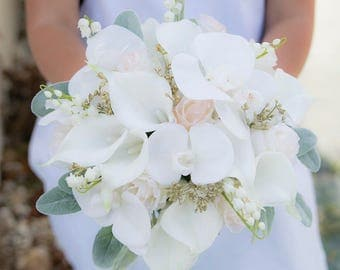 Lovely Blush Wedding Bouquet Off White And Gold Bridal Silk Callas Roses Orchids Lams