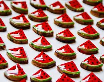 Watermelon - tiny Stud Earrings - stainless steel - recycled Cork - hand painted