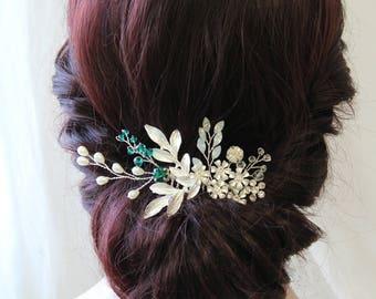 Emerald Green Wedding Hair Piece, Bridal Headpiece ,Wedding Headpiece, Flower Hair comb, Flower Headpiece, Wedding Hair Flower, UK