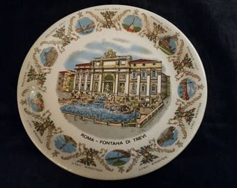 Plate Roma Fontina di Trevi Souvenir Italy Richard Ginori Vintage