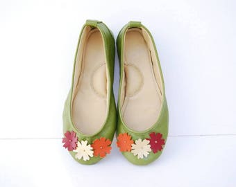 Apple green handmade leather ballerina flat shoes custom made