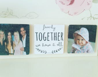 Freestanding Wooden Photo Quote Gift Block Family Home