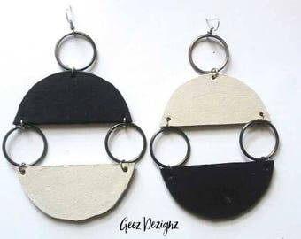 Black and White Half-Moon Leather Circles
