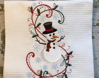 Christmas Hand Towel, Snowman Towel, Snowman Embroidered Towel, Snowman Decoration, Christmas Decoration, Holiday Towel, Christmas Gift