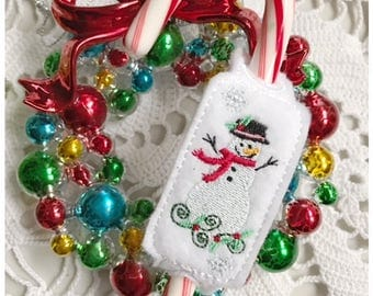 Snowman Candy Cane Sliders - Machine Embroidery Design in Pes, Dst, Exp, Hus, Jef, Vip and Vp3 Formats