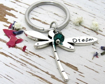 Dream dragonfly key chain - birthstone crystal bead - inspirational gifts - graduation ideas - dragonfly trends - stamped metal - fantasy