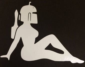 Boba Babe Vinyl Decal, Funny Sci Fi Car Decal