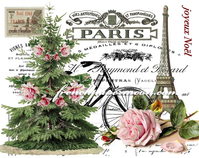 Digital Christmas in Paris, Shabby Roses, Bicycle, Eiffel Tower, Christmas Tree, Printable Graphic Transfer Image 0110