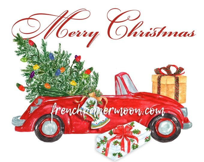 Red Christmas Buggy Printable, Convertible Beetle, Christmas Car with Tree, Instant Download Pillow Transfer Image