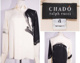 CHADO by RALPH RUCCI Black & White Silk Print Blouse