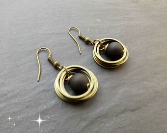 "Earrings ""rings"" matte black"