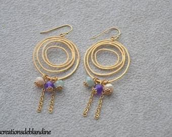 """Earrings """"Paola"""" Crystal, agate, and gold-plated"""