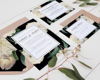 Neutral Floral Wedding Invitation