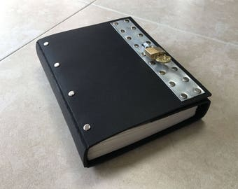 Black Industrial Goth Lockable Steampunk Leather Journal. Black leather, rivets, and a serious padlock. Diary, journal, sketchbook, or?