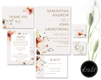 wedding invitation minimal layout, watercolor flower invitation, modern wedding invite, pale nude wedding invite, thank you card, tag, rsvp
