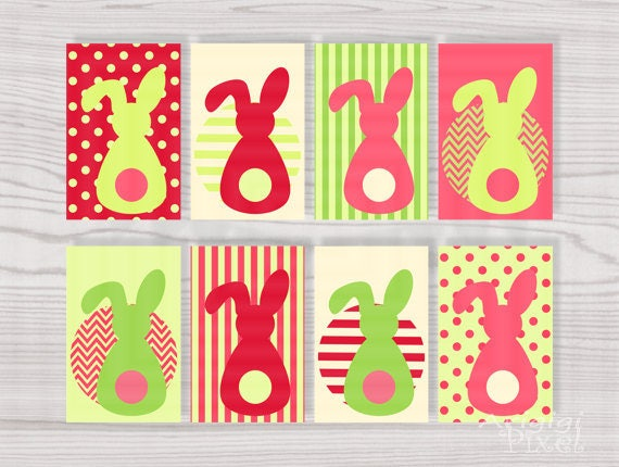 Printable Gift Tag Easter Bunny in Pink Red Green Spring Colors, Download