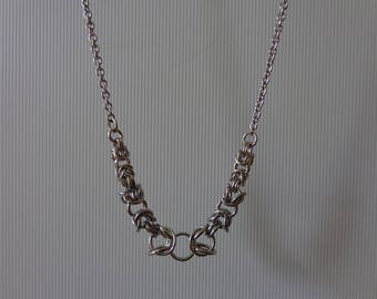 Silver Stainless Steel Chain Necklace, Chainmaille Necklace, Byzantine Necklace, Chainmaille Pendant Necklace,  Byzantine Pendant Necklace