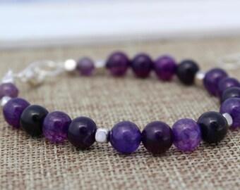 Purple Bracelet Purple Beaded Bracelet Purple Gemstone Bracelet Amethyst Bracelet