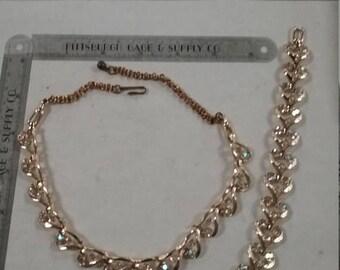10% OFF 3 day sale Vintage goldtone and rhinestone necklace and bracelet  set