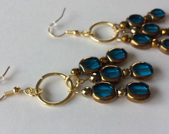 Blue & Gold Dangle Beaded Earrings