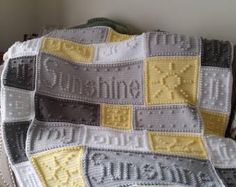 You Are My Sunshine Blanket, Crochet Sunshine Blanket, Crochet Afghan, You Are My Sunshine Afghan, Crochet Baby Blanket