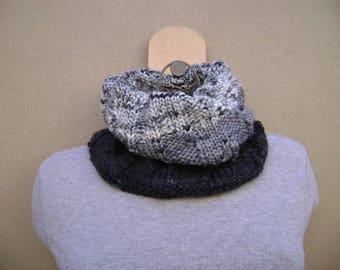 Black /Grey Cowl Scarf. Circle Scarf. Tube Scarf. Hand Knit. Neck Warmer.