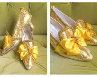 Beauty and the Beast Inspired Belle Heels Shoes Metallic Antique Gold Lace Marie Antoinette Yellow Brocade Jacquard Costume Cosplay Size 10