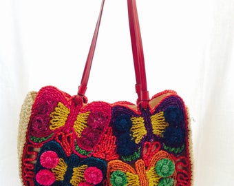 3D Flower power Vintage straw tote bag
