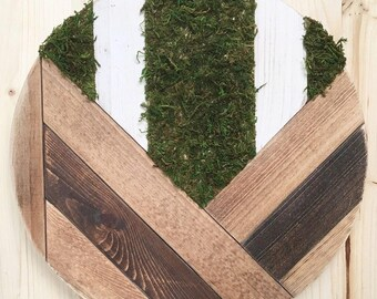 Geometric Wood Round, Faux Moss Accent, Wall Decor