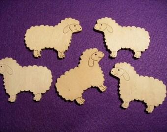 5 sheep, wood, 5x4 cm  (10-0002B)