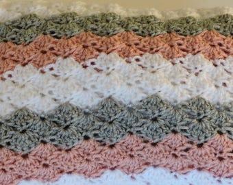 Crochet Baby Girl Blanket, Shell Baby Blanket, Pink, Gray, White Blanket, Baby Gift