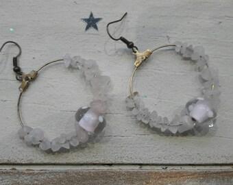 Bohemian earrings, Lampwork, ethnic, pink and bronze Pearl