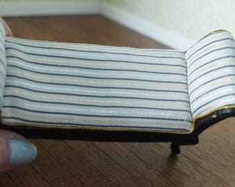 Dollhouse Miniature Black Daybed with Deco Influence