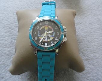 Sophie Quartz Ladies Watch with a Colorful Peace Sign on the dial