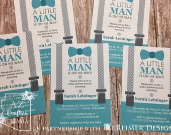 Little Man Baby Shower Invitation - Little Man - Bow Tie - Suspenders - Teal- Gray - Chevron - New Baby Announcement QTY 20