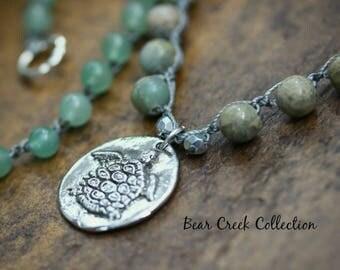 Turtle Crochet Necklace / Sink or Swim /  Neutral Tan Green Semi Precious Stone & Glass Artisan Pewter Pendant Bohemian Crocheted Jewelry