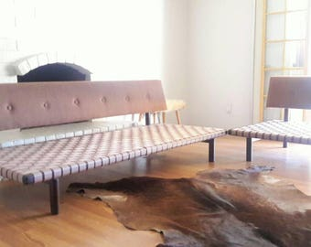 Vintage Mid Century Modern Walnut Sectional Sofa or Daybed Frames with Upholstered Backrest available with Custom Seat Cushions