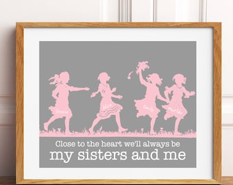 Sisters wall art, four sisters, siblings wall art, girls room decor, kids room wall art, playroom decor, nursery art, custom colors