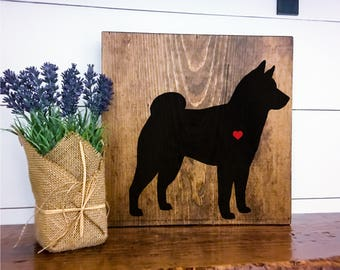 Shiba Inu Silhouette Hand Painted Stained Wood Sign, Dog Decor, Gift for Dog Lover, New Puppy Gift, Dog Sign Decor, Housewarming Gift