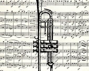 Trumpet sheet music art print